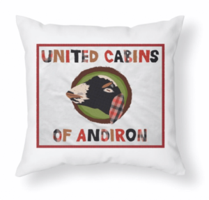 Let your United Cabins of Andiron flag fly! Available on apparel for all ages, totebags, throw pillows, mugs, and more.